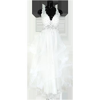 ホルターネックフラワー刺繍ボリュームチュールAラインロングドレス