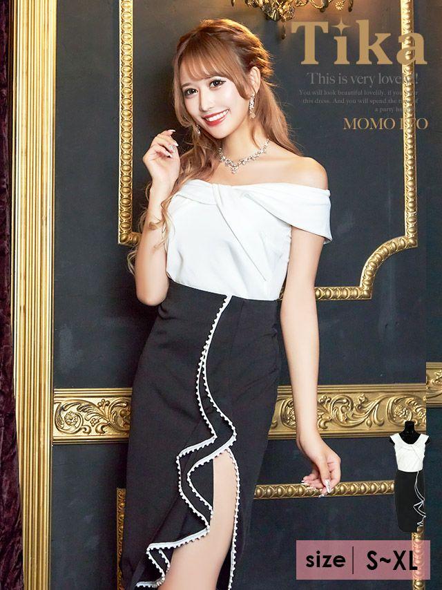 キャバドレス ミニドレス 大きいサイズ セットアップ セパレート タイト Tika ティカ バイカラーデザインツーピースミディ丈ドレス