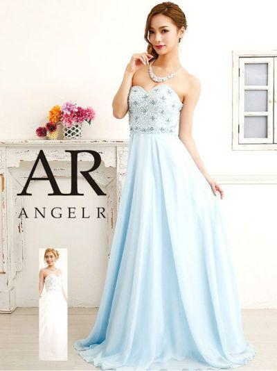 d92650a56753a Angel-R エンジェルアール ar8611 フラワービジューシフォンフレアロングドレス (ホワイト サックス) (Sサイズ)