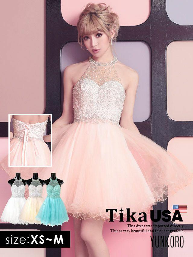 [ワケありセール] Tika キラキラビジューホルターネック×オーガンジーフレアスカートミニドレス (ホワイト/ベージュ/ピンク/ミント) (XSサイズ/Sサイズ/Mサイズ)