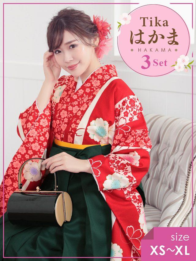 藤川沙耶 はかま着用 Tika ティカ 桜模様 袴3点セット