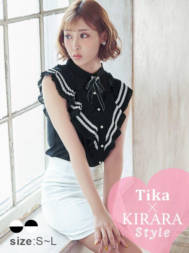 ワケありセール Tika ティカ セーラー服デザインフリルセットアップミニドレス (ブラック×ホワイト/ホワイト×ブラック) (Sサイズ/Mサイズ/Lサイズ)