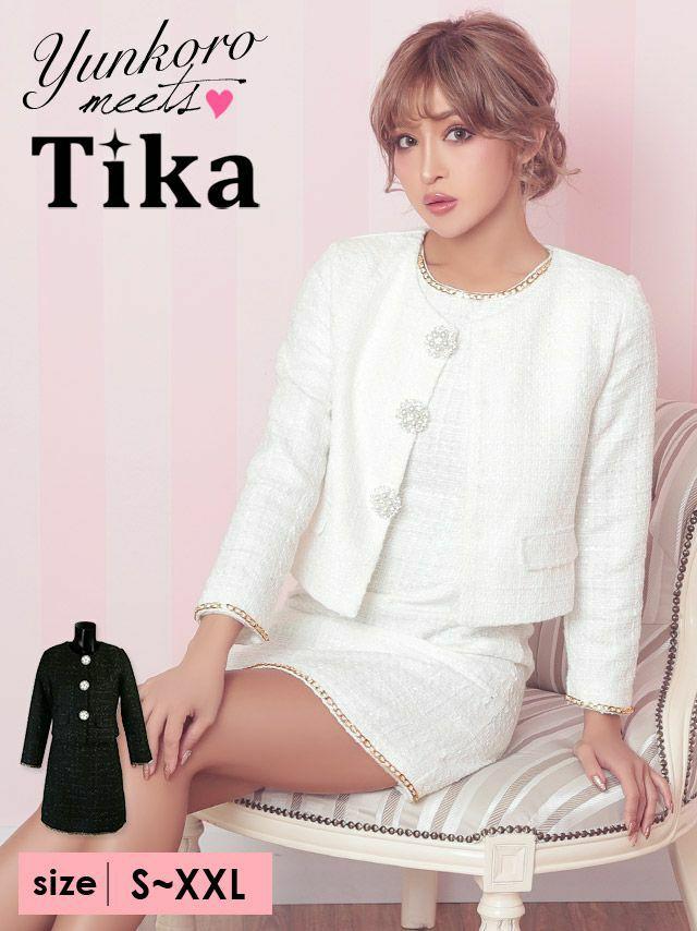 ワケありセール Tika ティカ ゴールドチェーンパールボタンワンピーススーツ (ジャケット+ワンピース) (ホワイト/ブラック) (Sサイズ~XXLサイズ)