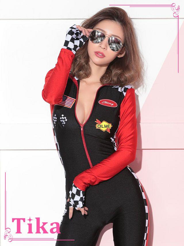 メイン画像 コスプレ衣装 Tika ティカ  3点set フロントジッパー付きレーサーガールコスチュームセット  ハロウィン コスプレ レディース 衣装 仮装 可愛い かわいい 通販