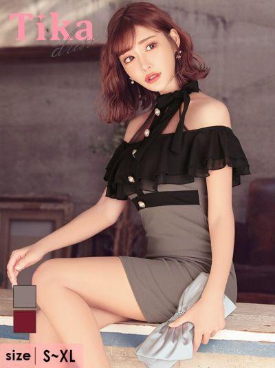 Tika店長おすすめネックリボンドットブラックレースオープンショルダータイトミニキャバドレス