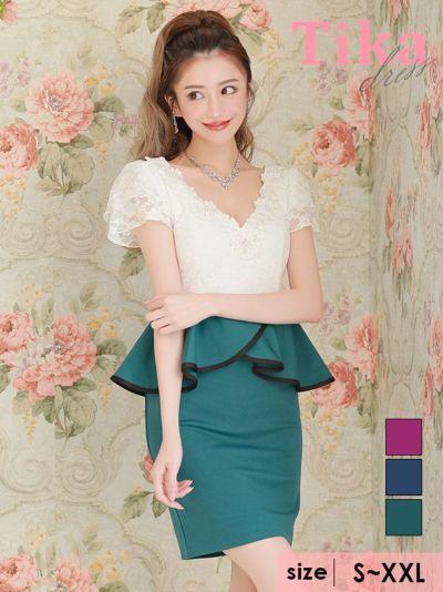 Tika店長おすすめフラワー刺繍レースバイカラーペプラムウエストリボンタイトミニキャバドレス