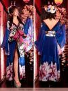 イメージ画像4 花魁 コスプレ ロング 着物 セクシー お化けの日 花柄和テイストロングドレス