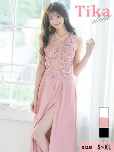 Tika店長おすすめギンガムチェックギャザーレースアップウエストカット裾フリルキャバドレス