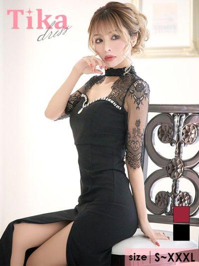Tika店長おすすめフラワーレースビジューマーメイドスリットロングキャバドレス