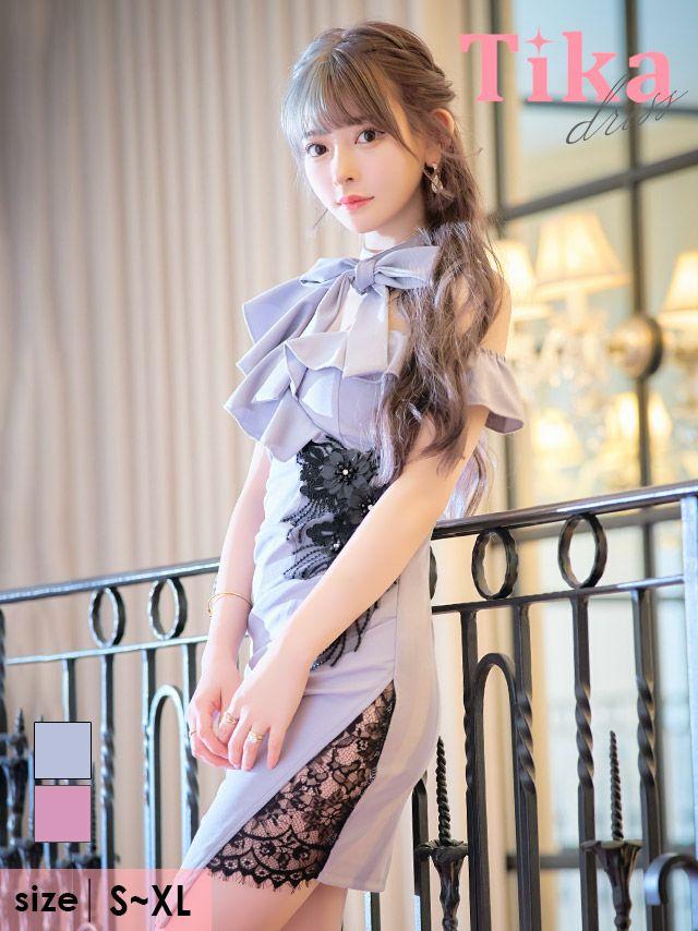 メイン画像 キャバドレス ミニ丈 ミニドレス Tika ネックリボンアシメフリルショルダーフラワー刺繍ビジューレースタイトミニドレス