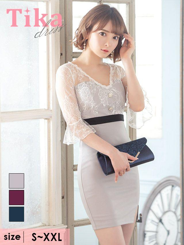 キャバドレス ミニドレス タイトドレス 大きいサイズ 袖あり Tika ティカ 袖レースビジュー付きスリットタイトミニドレス