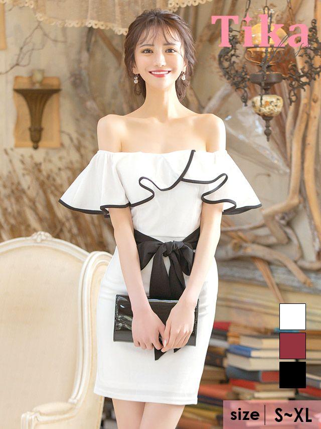 メイン画像 キャバドレス ミニドレス Tika キャバ オフショルフリルパイピングデザインウエストリボンタイトミニドレス
