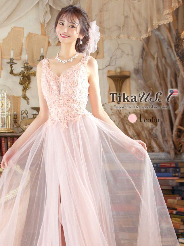 メイン画像 キャバドレス ロングドレス ロング丈 マキシ丈 Tika インポート フラワー刺繍レースチュールロングスリットドレス