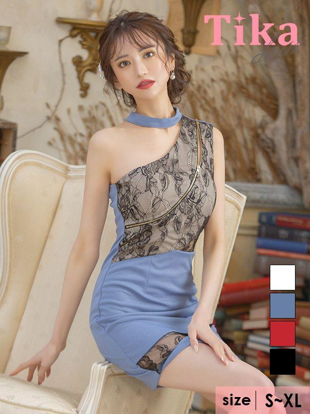 メイン画像 キャバドレス ミニドレス 大きいサイズ Tika ティカ シッパー×チョーカーアシメショルダーフラワーレースデザインタイトミニドレス