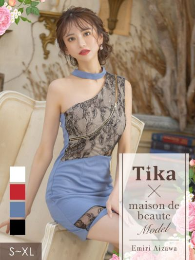 Tika店長おすすめシッパー×チョーカーアシメショルダーフラワーレースデザインタイトキャバドレス