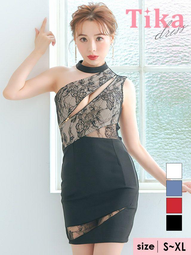 メイン画像 キャバドレス ミニドレス 大きいサイズ Tika ティカ ワンショルダーシッパーデザインブロッサムレース切り替えタイトミニドレス