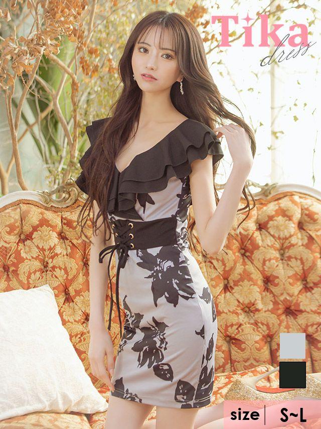 メイン画像 キャバドレス ミニドレス 大きいサイズ セクシー Tika ティカ ウエストレースアップモノトーンフラワータイトミニドレス