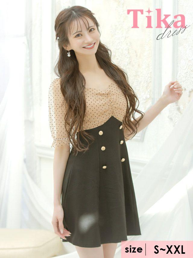 メイン画像 キャバドレス ミニドレス 膝丈 大きいサイズ ワンピース Tika ティカ ドットシアー切り替えAラインフレアミニドレス