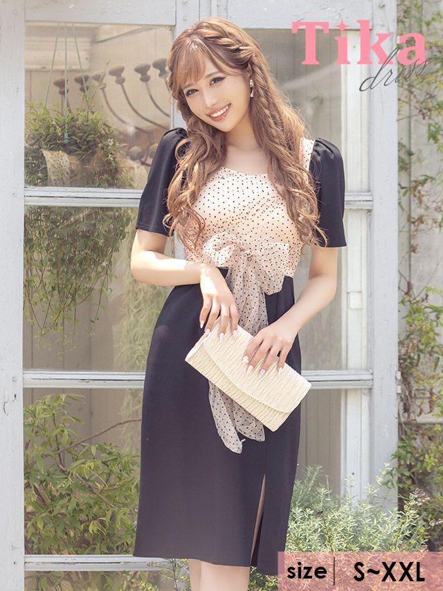 メイン画像 キャバドレス ミディアムドレス 膝丈 大きいサイズ Tika ティカ ドットシアーウエストリボン切り替えスリットミディアムドレス