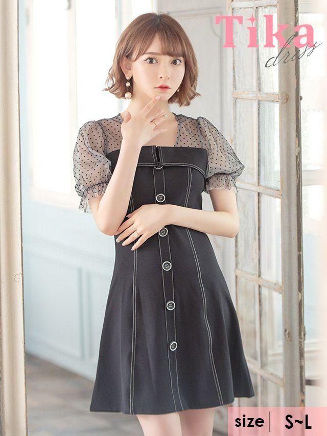 メイン画像 キャバドレス ミニドレス 大きいサイズ フレアドレス Tika ティカ ドットシアーパフスリーブ切り替えAラインフレアミニドレス