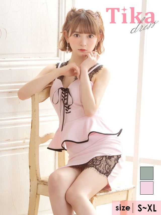 メイン画像 キャバドレス ミニドレス タイトドレス 大きいサイズ Tika ティカ 編み上げスカラップレース切り替えペプラムミニドレス