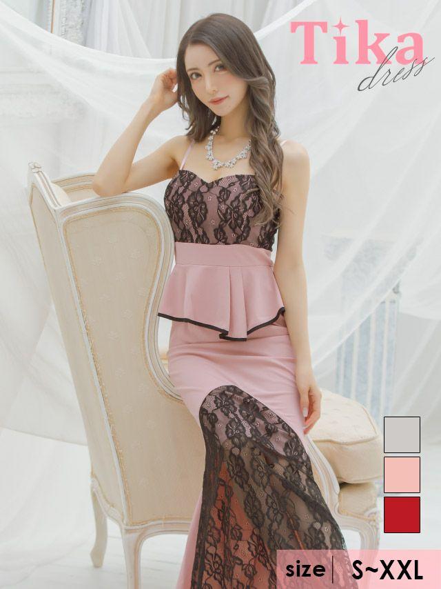 キャバドレス ロングドレス マキシ丈 タイト 大きいサイズ Tika ティカ ブラックレース切り替えペプラムキャミロングドレス