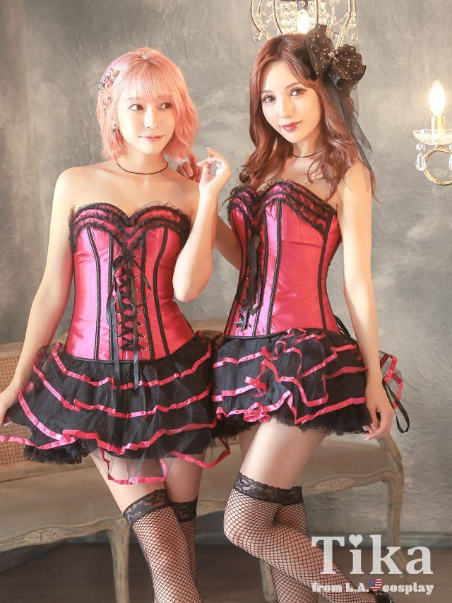 パリピ女子におすすめセクシーブラックレースアップコルセットコスプレ衣装