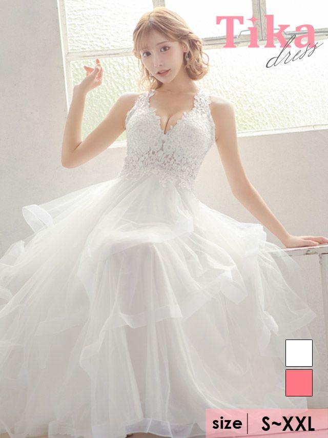 キャバドレス ロングドレス Aライン バースデー イベント 大きいサイズ Tika ティカ ホルターネックフラワー刺繍ボリュームチュールAラインロングドレス