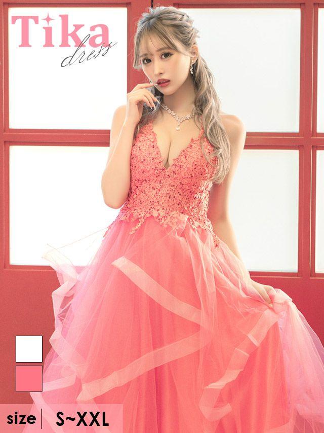キャバドレス ロングドレス バースデー マキシ丈 大きいサイズ Aライン Tika ティカ フラワー刺繍レースAラインチュールロングドレス