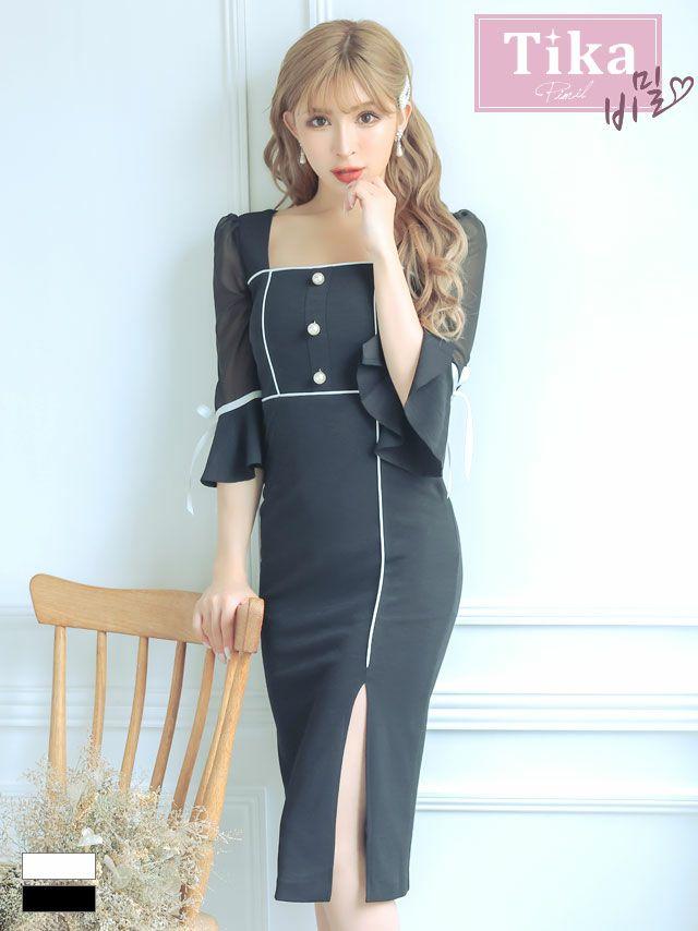 キャバドレス ミディアムドレス タイトドレス 韓国ドレス 大きいサイズ Tika ティカ シアーベルスリーブリボンパイピングデザインミディアムスリットドレス
