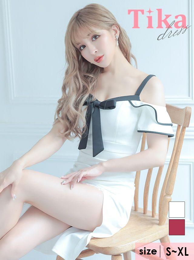 キャバドレス ミディアムドレス タイトドレス 大きいサイズ セクシー Tika ティカ パイピングオープンショルダーリボンレーススリットミディアムドレス