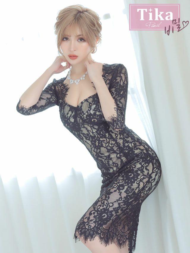 キャバドレス ミディアムドレス 韓国ドレス 総レース パーティードレス Tika ティカ オールフラワーレースエレガントミディアムスリットドレス