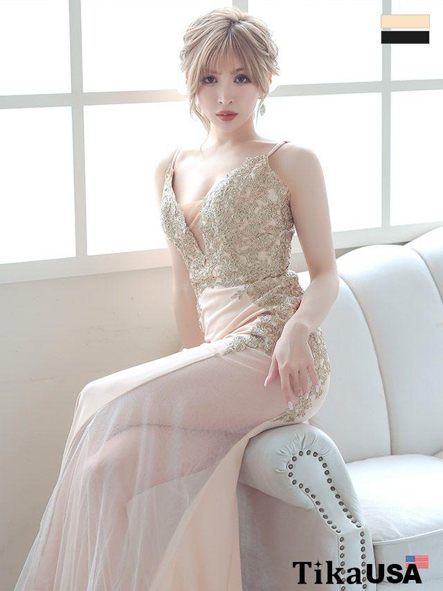 キャバドレス ロングドレス マーメイドドレス マキシ丈 大きいサイズ バースデー セクシー Tika ティカ ゴールド刺繍デザインサイドシアーマーメイドロングドレス
