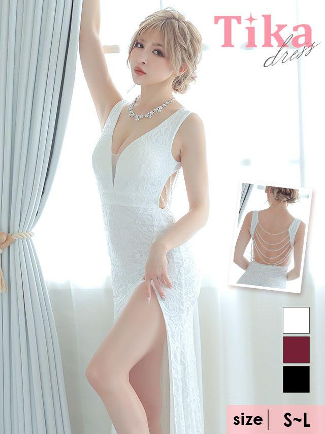 ロングドレス タイト キャバドレス 大きいサイズ セクシー Tika ティカ バックビジューデザインロングスリットタイトドレス